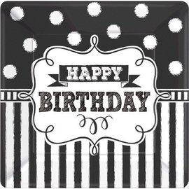 Plates-BEV-Chalkboard Birthday-8pk-Paper- Discontinued