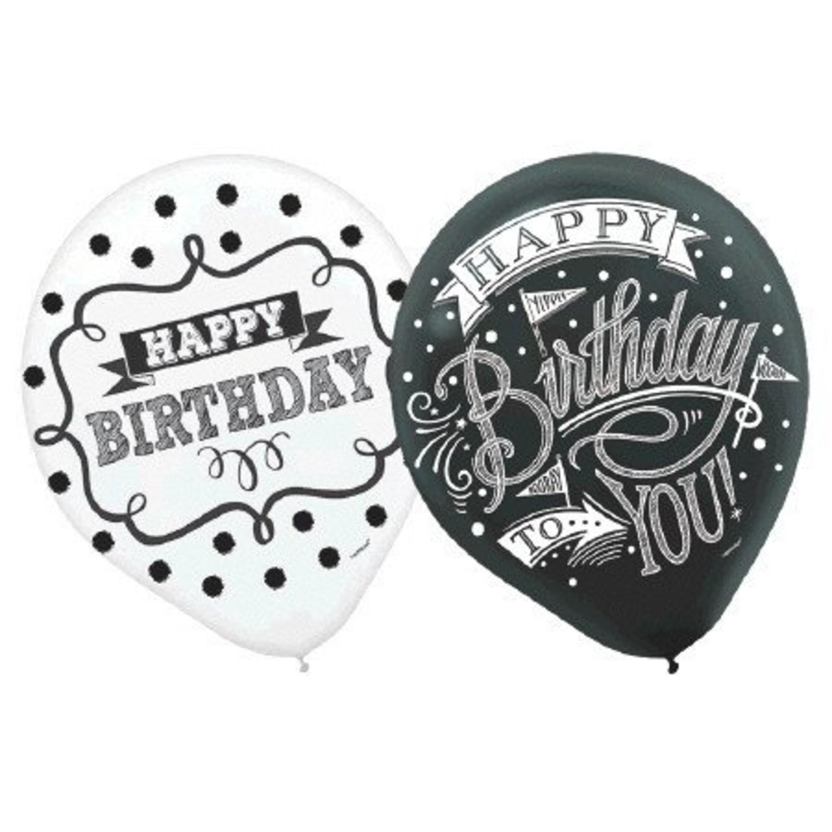 "Balloons - Chalkboard Birthday - 12"" - 15pk"