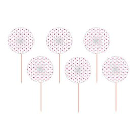 Picks-Paper Fans-Pink and White Polka Dot