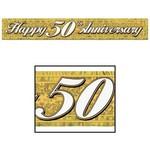 Fringe Banner-Metallic-Golden 50th Anniversary-1pkg-5ft
