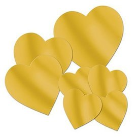 "Cutouts-Foil-Gold Hearts-7pkg-4""-12"""
