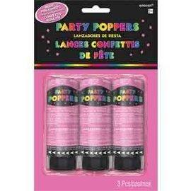 Confetti Poppers-Bright Pink-3pkg