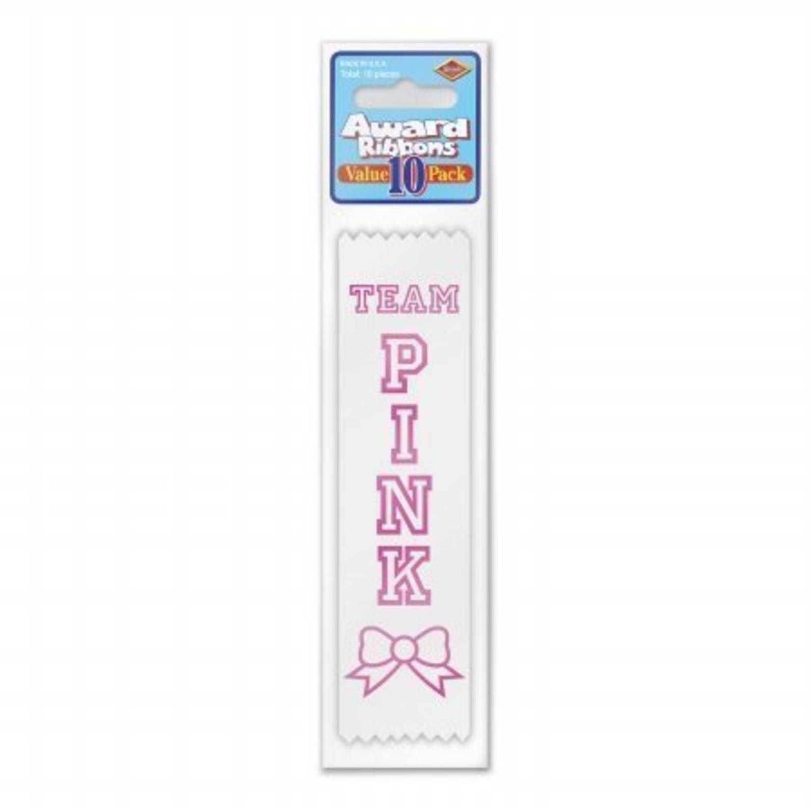 Award Ribbon-Team Pink-6.5''-10pk