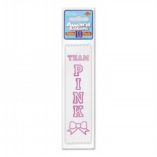 Award Ribbon-Team Pink-6.5''-10pk