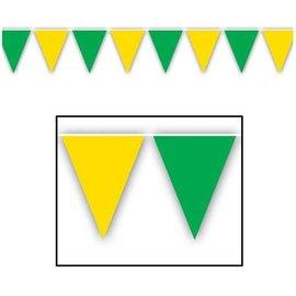 Pennant Banner-Plastic-Green & Yellow-1pkg
