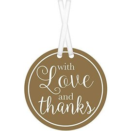 Tags-With Love And Thanks-Gold and White-25pcs-2''