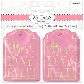 """Tags-Best Day Ever-Light Pink and Gold-25Pk/2"""" x 3"""""""