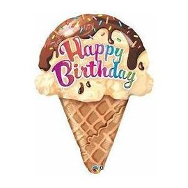 Foil Balloon - Happy Birthday Ice Cream Cone - 27""