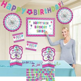 Decorating Kit-Customizable-Pink & Teal Birthday-8pcs