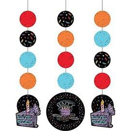 "Hanging Cutouts-Chalk Happy Birthday-3pkg-36"""
