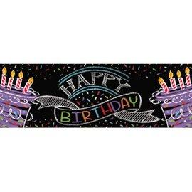 """Giant Banner-Plastic-Chalk Happy Birthday-1pkg-20""""x60"""""""
