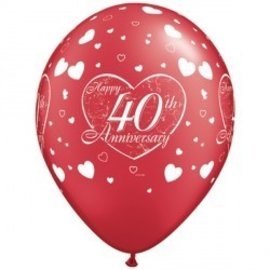 Latex Balloon-40th Anniversary Little Hearts Pearl Ruby Red-1pkg-11""