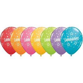 Latex Balloon-Congratulations Star Patterns Assortment-1pkg-11""