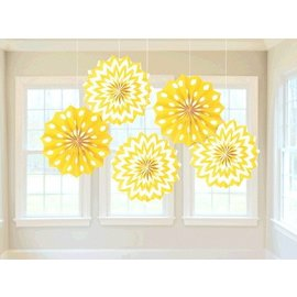 "Paper Fans - Sunshine - 8"" - 5pc"