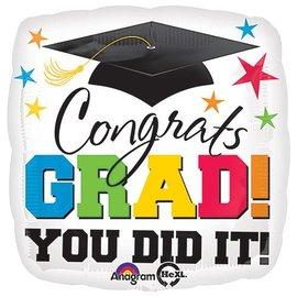 "Foil Balloon-Congrats Grad Square 17"""