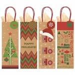 Bottle Kraft Gift Bag - Christmas - 4pcs