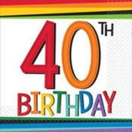 Beverage Napkins-40th Birthday-Discontinued