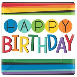 "Bevrage Square Paper Plates- Rainbow Birthday- 8pk/7""- Discontinued"