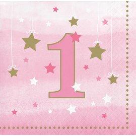 Napkins Bev - One Little Star Pink