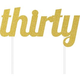 Cake Topper - Thirty - Gold - 1pc