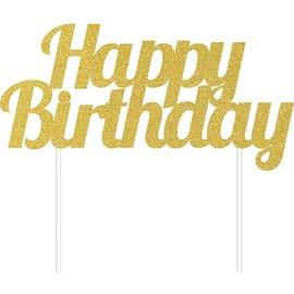 Cake Topper - Happy Birthday - Glitter - Gold - 1pc