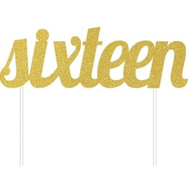 Cake Topper - Sixteen - Glitter - gold - 1pc