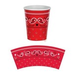 Cups-Western-Bandana-Red-Paper-9oz-8pk - Discontinued