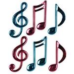 """Cutouts-Plastic-Musical Notes-6pkg-4.25""""-5.5"""""""