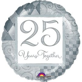"""Foil Balloon  -Silver 25 Years Together - 18"""""""