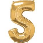 "Foil Balloon - Gold #5 - 34"""