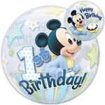 "Plastic Bubble Balloon-Mickey Mouse 1st Birthday-1pkg-22"""
