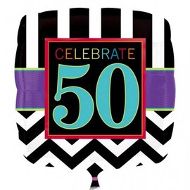 Foil Balloon - Celebrate 50 Chevron - 18""