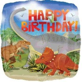 Foil Balloon-Dinosaur Happy Birthday 17""