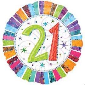 "Foil Balloon-21 Colourful 18"""