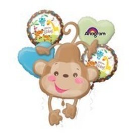 Foil Balloon-5pc Bouquet-Fischer Price Gender Monkey