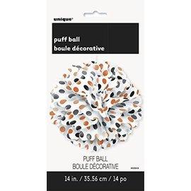 """Puff Ball-Black and Orange Polka Dot- 14"""""""