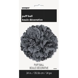 Puff Ball-Black and Grey Damask-14""