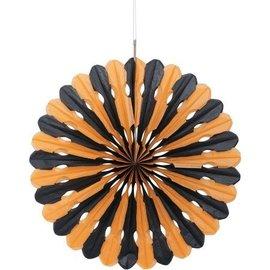 """Decorative Fan-Black and Orange-1pc/16"""""""