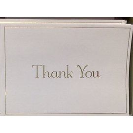 Thank You Cards-Gold/White-20pk