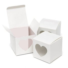 Favor Boxes- White with Heart Window- 25pk