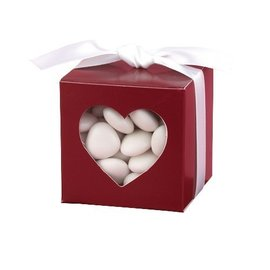 Favor Boxes- Merlot with Heart Window- 25pk
