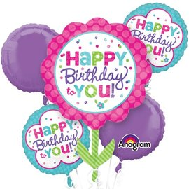 Foil Balloon Bouquet - Happy Birthday to You Flower - 5 Balloons - 2.4ft