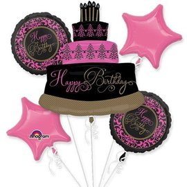 Foil Balloon Bouquet - Happy Birthday Cake - 5 Balloons - 2.6ft