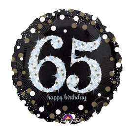 Foil Balloon - 65th Birthday Sparkle - 18""