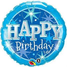 "Foil Balloon - Happy Birthday Blue Sparkle - 18"""