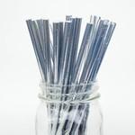 Paper Straws-Metallic Silver-10pk