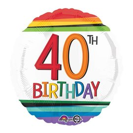 Foil Balloon - 40th Birthday 18""