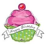"Foil Balloon - Happy Birthday Cupcake 29x27"""