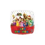 "Foil Balloon - Super Mario Happy Birthday 17"""