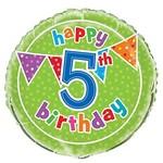 Foil Balloon - Happy 5th Birthday - 18''